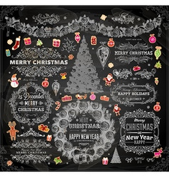 Chalkboard Christmas Set vector image