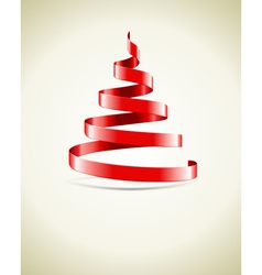 Christmas tree from red ribbon vector
