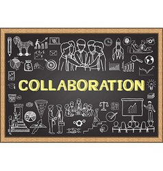 Collaboration on chalkboard vector