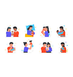 collection of happy families with their newborn vector image