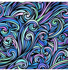 colourful hand-drawn waves pattern vector image