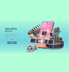 Concept mobile video editing app motion design vector