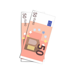Couple simple fifty euro banknotes on white vector