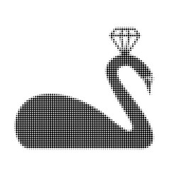 crowned swan halftone dotted icon vector image