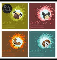 Cute animal family background with Dogs 6 vector image