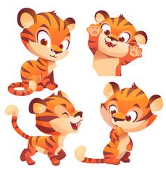 Cute baby tiger cartoon animal cub kawaii mascot vector