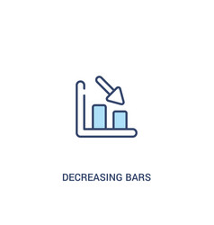 Decreasing bars chart concept 2 colored icon vector