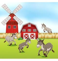 Donkeys in farmyard vector