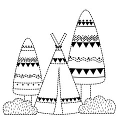 Dotted shape ethnic camp with trees and bushes vector