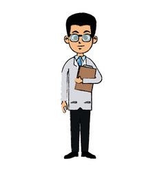 Drawing portrait doctor man character standing vector
