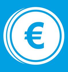 Euro coins icon white vector