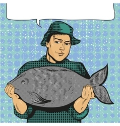 Fisherman holding big fish vector
