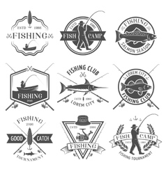 Fishing Club Black White Emblems Set vector image