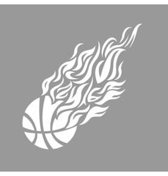 Flame fire ball grey basketball symbol icon vector