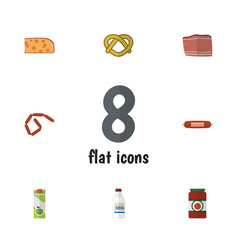 Flat icon food set of bratwurst packet beverage vector
