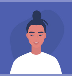 flat portrait a young millennial asian vector image