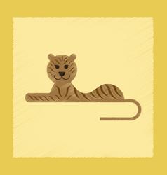 flat shading style icon cartoon tiger vector image