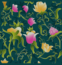 Floral seamless pattern fantasy art deco vector