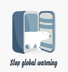 global warming concept poster with polar bear vector image