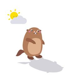 Groundhog looking at his shadow flat vector