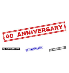 grunge 40 anniversary textured rectangle vector image