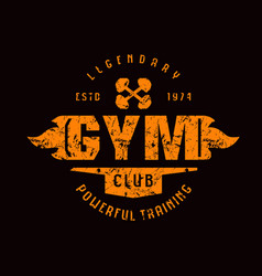 Gym club emblem graphic design for t-shirt vector