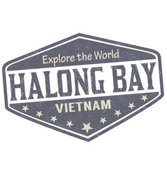 Halong bay sign or stamp vector