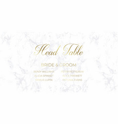 head table bride and groom template gray marble vector image