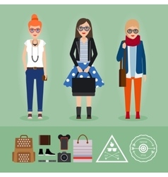 Hipster girls with accessories vector image