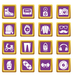 Hipster symbols icons set purple square vector