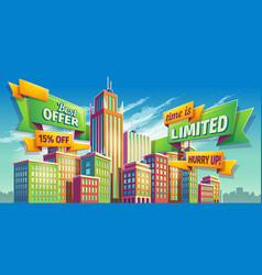 Horizontal cartoon banner vector