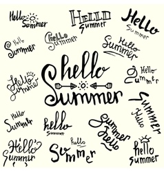 inscription hello summer handwritten lettering vector image