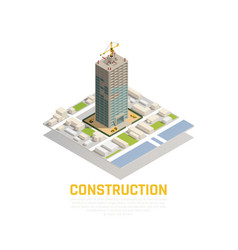 isometric construction composition vector image