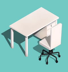 Isometric office table and wheelchair modern vector