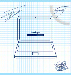 laptop update process with loading bar line sketch vector image