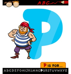 Letter p with pirate cartoon vector