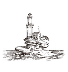 lighthouse and sea marine sketch nautical vector image