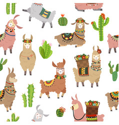 llama seamless pattern baby llamas cute alpaca vector image