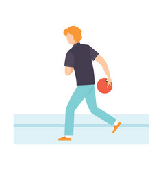 man throwing bowling ball male bowler playing vector image