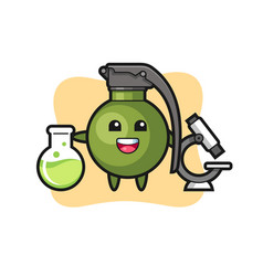 Mascot character grenade as a scientist vector