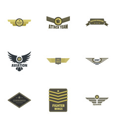 Military badge icons set flat style vector