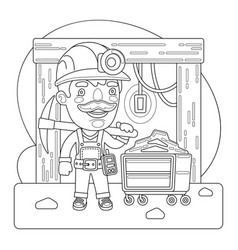 miner coloring page vector image