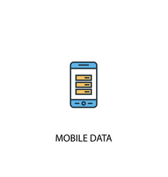mobile data concept 2 colored line icon simple vector image