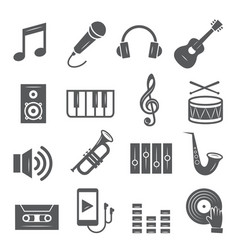 music icons set on white background vector image