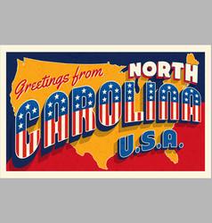 North carolina july 4th retro postcard vector