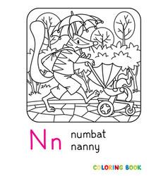 Numbat nanny abc coloring book alphabet n vector