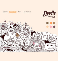 Online coloring page home cosiness vector