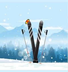 Pair cross skis in snow ski winter mountain vector