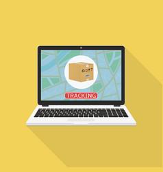 Parcel tracking website on laptop screen online vector