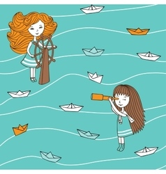 Pattern paper boats in vintage style vector